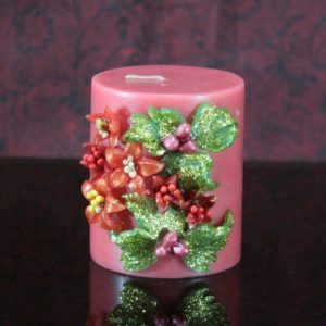 Red flower candle 2×3""