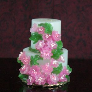 Two step candle pink flower