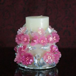 Two step candle pink & silver
