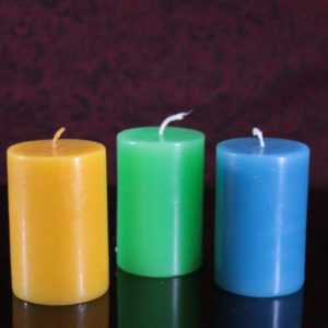 colored pillar perfumed candle size 2×3""