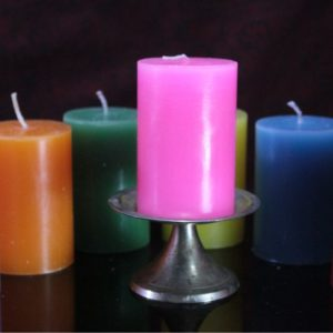 """2×3"""" perfumed colored pillars set of 3 with single brass stand"""