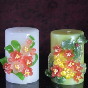 """3×3"""" Flower candles pack of 2"""