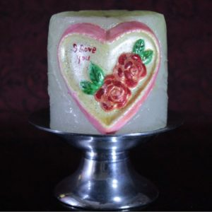 """3×3"""" Heart candle with brass stand"""