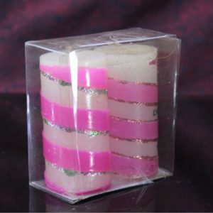 Wax strip candles set of 2